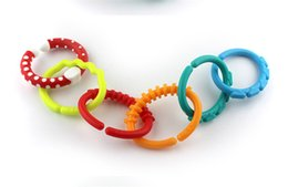 Wholesale Teether Rattle Set - Wholesale- 6Pcs Baby Teether Toy Baby Rattle Colorful Rainbow Rings Crib Bed Stroller Hanging Decoration Toys Gift for children Baby