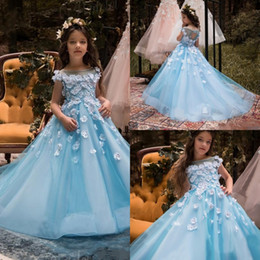 Wholesale Hand Make Baby Girl Cap - 2018 Blue Flower Girl Dresses For Weddings Cap Sleeve 3D Floral Flowers Beads Little Baby Ball Gowns Puffy Skirts Communion Pageant Dresses