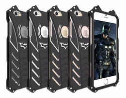 Wholesale Bracket Cnc - Armor Heavy Dust Metal Aluminum CNC BATMAN protect Skeleton head phone shell case cover+BATMAN bracket For Iphone 8 8plus 7 7plus 6 6s 6plus