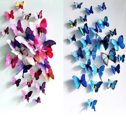 Wholesale Best Bedroom Decor - Best price 12pcs set PVC Magnet 3D Butterfly Wall Sticker Decals Home Decor Poster For Kids Rooms Art Stickers 100set
