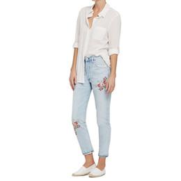 Wholesale Women Embroidery Jeans Wholesale - Wholesale- 2017 New Fashion Women High Waist Retro Button High Elastic Plus Size Women Jeans Woman Femme Washed Casual Pencil Denim Pants