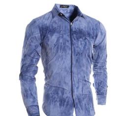 Wholesale Blue Polo Dress - Men VSKA Brand Casual Shirts Colorful Mixing Design With Dark Placket Long Sleeve Dress Shirts For Men Cotton Slim Polo Men Shirt J160114