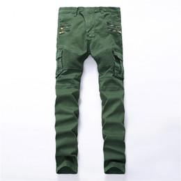 2019 jeans vert foncé hommes Vente en gros- 2017 hommes trou de poche de la mode des jeans déchirés Casual Zipper patchwork slim droite foncé vert hip hop pantalon en denim pantalon long jeans vert foncé hommes pas cher