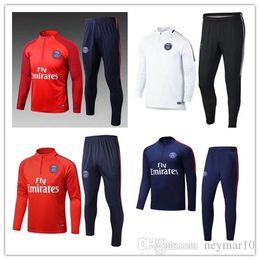 Wholesale New Men S Red Suit - new Best quality psg red Neymar JR soccer training jersey suit jacket pants men long sleeve football tracksuit shirt sweater suit