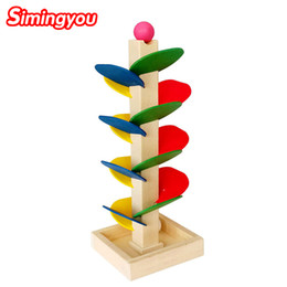 Wholesale Ball Run Toy - Simingyou Wooden Tree Blocks Marble Ball Run Track Game Baby Kids Children Intelligence Educational Toy RB78