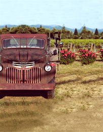 Wholesale Photo Farms - Retro Vintage Red Car Farm Background Natural Scenery Mountain Trees Flowers Children Kids Outdoor Photo Booth Backdrops