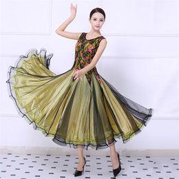 2019 seide lange abendröcke Adult Ballroom Dance Kleid Modern Waltz Standard Wettbewerb Tanzkleid High Quality Lace Stitching Printed Ärmelloses Kleid Free Custom