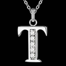 Wholesale Letter T Necklace - Wholesale- Letter T-Z Free Shipping silver plated Necklace, Stamp 925 fashion silver jewelry Fashion Pendant  XYLQNNAG XYLQNNAG