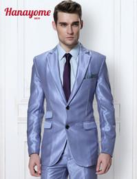 2019 костюм-костюм Wholesale-  Royal Blue Mens Suit Men's Smooth 2 Pieces Wedding Event Suit & Trousers 10 Colors Men's Suit With Shiny Satin D327 дешево костюм-костюм