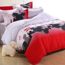 Wholesale Monkey Duvet - Wholesale-4Pcs 3pcs Kids Cute Bedding Set Cartoon Minnie Mouse Monkey Cat Bed Sheet Duvet Cover Pillowcase Bed Set Boys Girls Bedding Sets