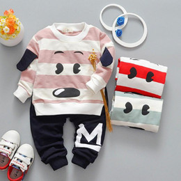 Wholesale Outwear Children Boy - 3 Colors Kids Boys Cartoon Sets 2017 Baby Boy Full Sleeve T-shirts + pants 2pcs Outfits Boys Dog Print Suits Children Outwear Clothes