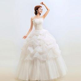 Wholesale Simple Wedding Dresses Korean Style - 3 Color Red White 2016 Hot Sale Sweetange Korean Style Sweet Romantic Ruffles Lace Princess Wedding Dress Vestido De Noiva F