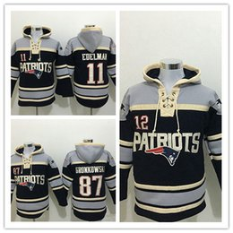 Wholesale Order Hoodies - Stitched Patriotz Hoody 11 EDELMAN  12 BRADY  87 GRONKOWSKI Black Hockey Men Hoodie Jerseys Ice Jersey Mix Order