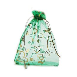 Wholesale Chinese Jewelry Bags Green - 100 Pcs Green Love Heart Organza Jewelry Pouch Gift Bags 9X12cm ( 3.5 x 4.7 inch) Drawstring Organza Gift Candy Beads Bags