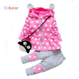 Wholesale Toddler Outfits For Boys - Wholesale- Kids Baby Girl Clothes Sets Fashion High Qulity Dot Print Hooded Set For Girl Outfit Toddler Infant Children Suit 0 2 3 4 Years