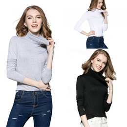 Wholesale Long Sleeve Turtle Neck Shirt - Womens Fashion Clothing Autumn Winter Turtleneck Knitt Tops With Long Sleeve Slim Fit Bottoming Shirt LX3654