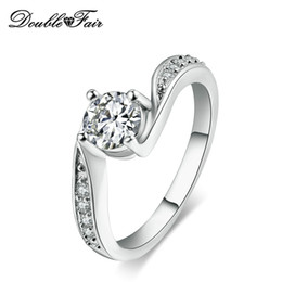 Wholesale Cubic Stone Jewellery - Simple Elegant White Gold Plated CZ Diamond Brand Ring Wholesale For Women Gift & Party Jewellery DFR524
