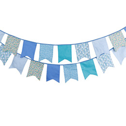 Wholesale Corner Fabric - Wholesale- 12 Flags 3.5m Cute Blue Five Corner Cotton Fabric Banner Bunting Flag Wedding Birthday Party New Born Garden Decoration 083