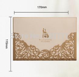 Wholesale Invitation Sets - Wholesale-Free Shipping 1 Set Sample Popular Gold Color Laser-cut Bride & Groom Wedding Favor Invitation Card Sample for Sale