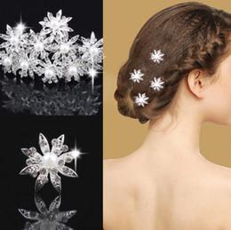 Wholesale Pearl Crystal Bridal Headpieces - 2017 wholesale Fashion wedding accessories Crystals hair pieces gold faux pearl headpieces U pins bridal hair rhinestone headbands