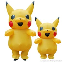 Wholesale Inflatable Carnival - 2017 Hot sale Carnival suiit Child and Adult size inflatable pikachu mascot costume Cartoon Character Costumes for party