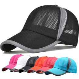 Wholesale Dry Bones Hat - Men Women Summer Breathable Mesh Baseball Snapback Cap Solid Colors Quick Dry Mesh Baseball Cap Outdoor Bone Breathable Sun Visor Hats