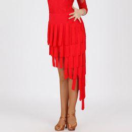 Wholesale Latin Sexy Ruffle Skirts - Skirt Latin Dance Flamenco Dance Skirts 2017 Plus Size Sexy Club Dresses Stage Costumes Tassel Dress For Ballroom Dancing Wear FN177