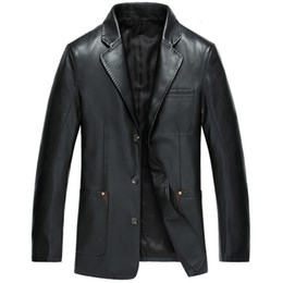 Wholesale Slim Suit Jacket Leather Sleeves - Men Males Boys Casual Fashion Slim Black Long Sleeve Leather Suits Tops Jacket Outwear Clothes 3 Colors 2817