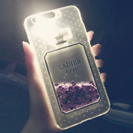 Wholesale liquid leading - Luxury Perfume Glitter liquid Case for iPhone x 8 7 Plus Clear LED Flash Light UP TPU quicksand Cover for iPhone 6s 6