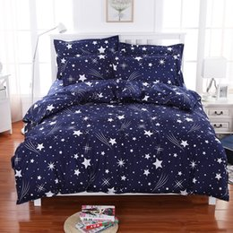 Wholesale White Sheets Queen - Meteor Shower Stars Blue Bedding Set Soft Polyester Duvet Cover Bed Set Twin Full Queen King Size 4PCS Bed Sheets Bedlinen Bedclothes