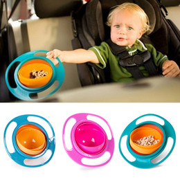 Wholesale Baby Spill Rotating Bowl - Baby Children Universal Gyro Bowls 360 degree rotating balance bowls Non Spill Eat Food Snacks Lunch box flying saucer bowls