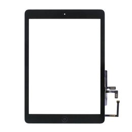 Wholesale Original Ipad Digitizer Button - 20PCS Original Black White For iPad Air 1 iPad 5 Touch Screen Digitizer Panel Outer Glass With Home Button Adhesive Sticker DHL Free
