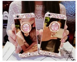 Wholesale Iphone Diamond Crystal Bling - Handmade Bling Diamond Crystal Holder Case With Stand Kickstand Mirror Cover Case For iPhone X 8 7 Plus 6 6S Samsung S8 Plus S7 edge Note 8