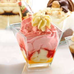Wholesale Disposable Party - Wholesale- Promotion - Party Suppliers, Disposable Plastic Tableware, 50*30mm Clear Mini Girata Dessert Twisted Dish Cup, 24 Pack