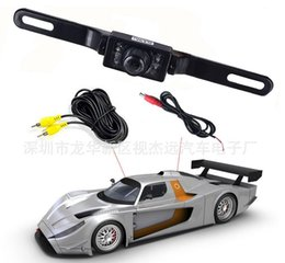 Wholesale Ir Frame - 100pcs Waterproof Long License Plate Frame Color CMOS Car Rear View Camera For Reverse Parking camera With 7 LED IR Night Vison