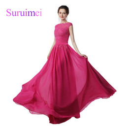 Wholesale Cheap Prom Dresses China Made - Dress Long Party Vestido Festa Longo Noite Casamento 2017 Hot Pink Chiffon Prom Dress Cheap Evening Dresses Made in China