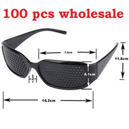 Wholesale Wholesale Pinhole Glass - 2017 Hot Black Unisex Vision Care Pin hole Eyeglasses pinhole Glasses Eye Exercise Eyesight Improve Plastic Natural Healing DHL Free 100 Pcs