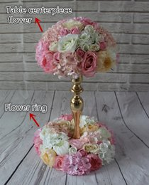Wholesale Plastic Flower Rings - Wedding flower ring table centerpiece flower balls wedding road lead artificial flowers Decorative wreath