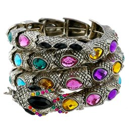 Wholesale Stretch Bracelet Bangle - Multi color Stretch snake bracelet armlet upper arm cuff for women punk rock crystal bangle antique Bronze plated NE735