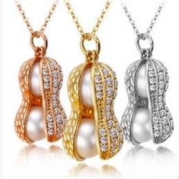 Wholesale Peanut Necklace Charm - Good A++ New natural freshwater pearl necklace diamond high - grade peanut necklace WFN460 (with chain) mix order 20 pieces a lot