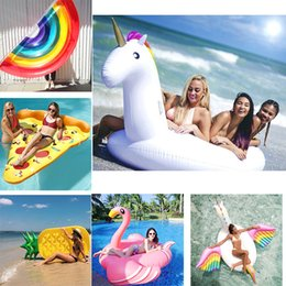 Wholesale Wholesale Adult Floats - 21Style 97.5inch Giant Inflatable Flamingo Unicorn Swan Pegasus Pool Party Beach Float Ride-On Swimming Ring Adults Women Water Toys 250cm