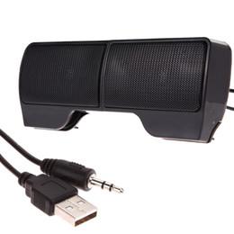 Wholesale Laptop Notebook Jack - Wholesale- 2 Mini Portable Computer Clip-on USB Stereo Speaker 3.5mm Jack Soundbar Line Controller Play For Laptop Notebook PC Audio Player