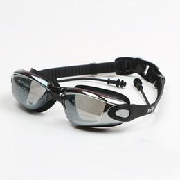 Profissional Silicone À Prova D  Água Óculos de Natação Anti-fog UV Óculos  de Natação Com Tampão para Homens Mulheres Esportes Aquáticos Óculos 67e524388e
