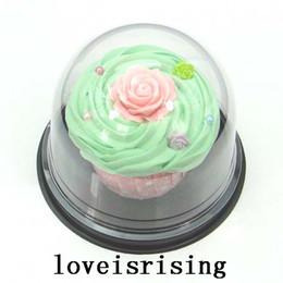 Caixa nova dos bolos do favor on-line-Os Recém-chegados-50 pcs = 25 conjuntos Limpar Plástico Cupcake Bolo Cúpula Favor Caixas de Contêineres de Presente de Casamento Decoração de Festa Caixas
