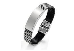 Wholesale Simple Silver Rings For Men - hot sale stainless steel jewelry fashion simple elegant plain titanium steel rubber silicone bracelets for men