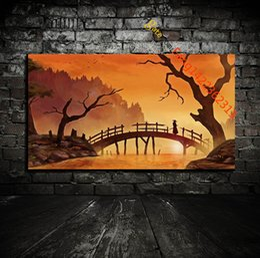 "Wholesale Tree Art Paint - "" Samurai Silhouette Sunlight Trees Water Wood"" Premium Art Print. HD Canvas Prints Wall Art for Home Decor(Unframed)"