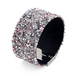Wholesale Magnetic Clasps China - Fashion Jewelry Woman Magnetic Clasp Bracelets & Bangles Natural Shell Stone Resin Rhinestone Red Bracelet Summer Accessories