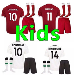 Wholesale Yellow Stockings - In stock A+++quality kids kit + socks 2017 Gerrard Soccer Jersey 17 18 home COUTINHO Sturridge Lucas sports football shirts