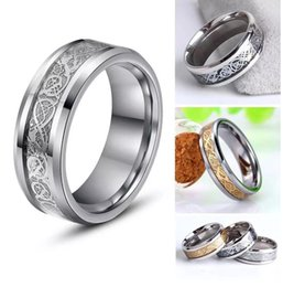Wholesale Tungsten Dragon Wedding Bands - High Quality Mens 8MM Tungsten Carbide Gold Silver Celtic Dragon Inlay Men's Ring Wedding Band Size 8-14