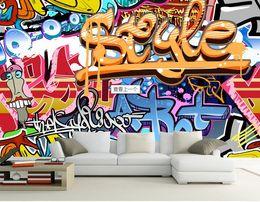 Wholesale Paper House 3d - 3d room wallpaper custom photo mural Colorful rock graffiti bar decoration painting 3d wall murals wall paper for walls 3 d living room
